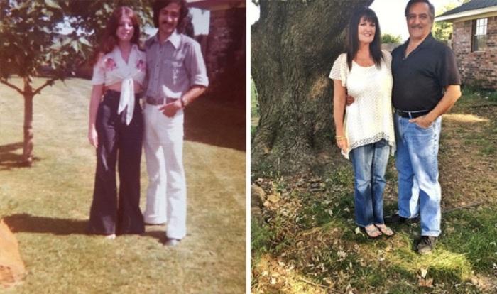 «Мои родители возле своего дерева в 1975 и 2016 годах».