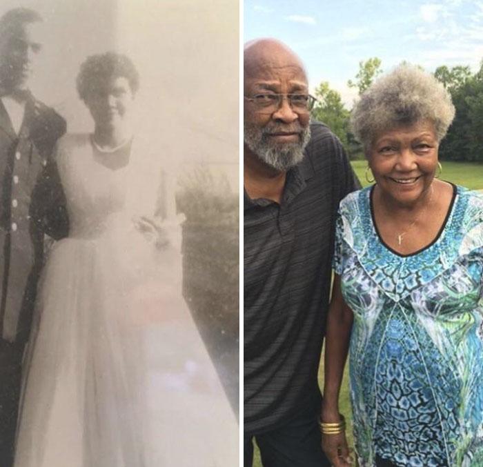 «Бабушка с дедушкой 58 лет назад и сегодня».