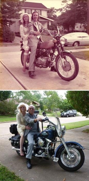 На праздновании своего 40-летнего супружеского юбилея они воссоздали свадебную фотографию 1975 года.