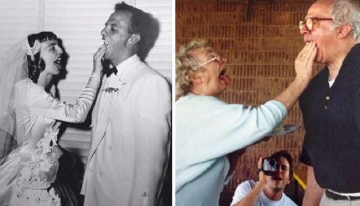 «Мои бабушка и дедушка, тогда и сейчас».