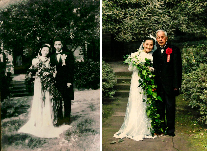 Влюбленная пара воссоздала свадебную фотографию через 70 лет.
