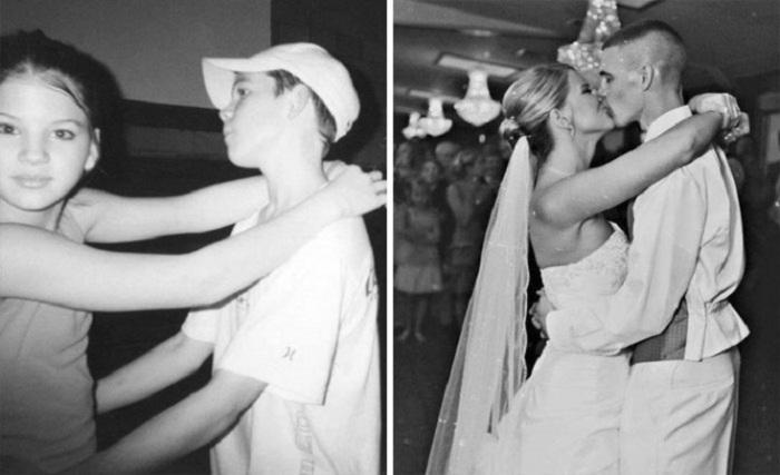 «Моя жена и я во время танца в шестом классе, а затем в день нашей свадьбы».