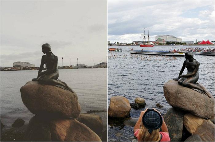 Статуя, расположена в порту Копенгагена, изображающая персонажа из сказки «Русалочка» Ганса Христиана Андерсена.
