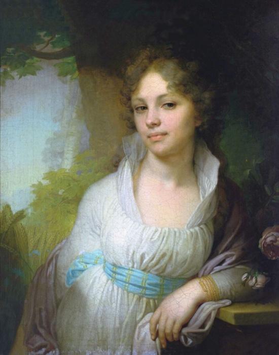 Представительница графского рода Толстых, изображена в нежном возрасте 18 лет.