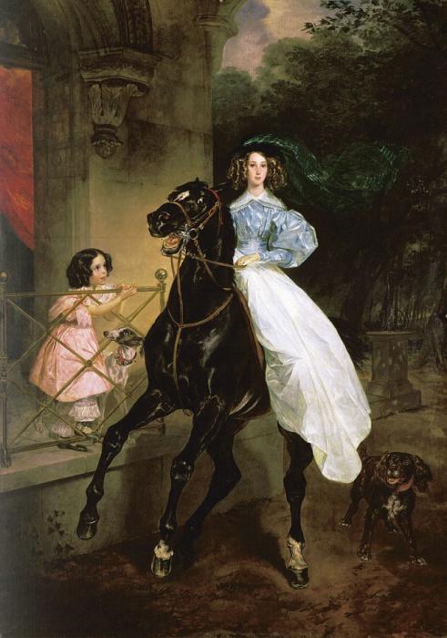 Старшая Джованина грациозно сидящая на великолепном скакуне, младшая Амацилия смотрит на неё с крыльца.