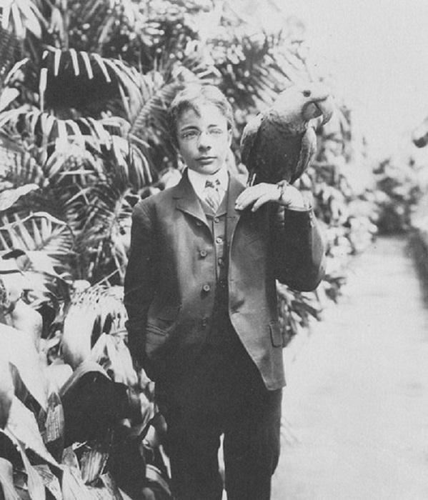 С любимым попугаем Эли, 1902 год.