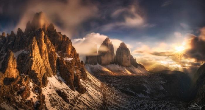 Скалы Тре-Чиме-ди-Лаваредо, Италия.