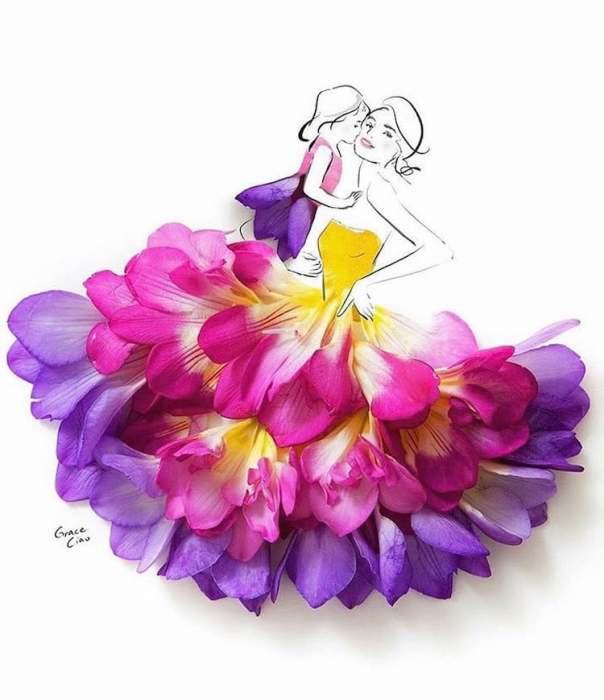 Фэшн-иллюстрации из лепестков цветов.