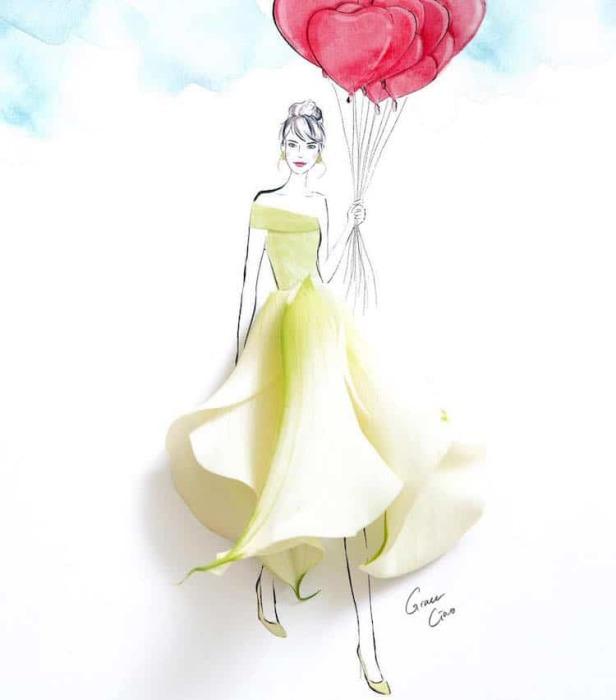 Струящиеся и удивительно живое платье.