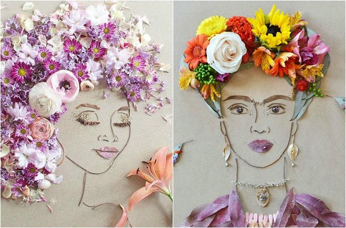 Флористические портреты, которые создаются из цветов, лепестков, листьев, веточек, почек, стебельков, семян и шишек.