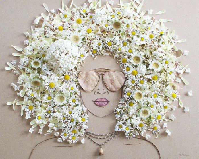 Портрет сделан из натуральных материалов и без использования клея.