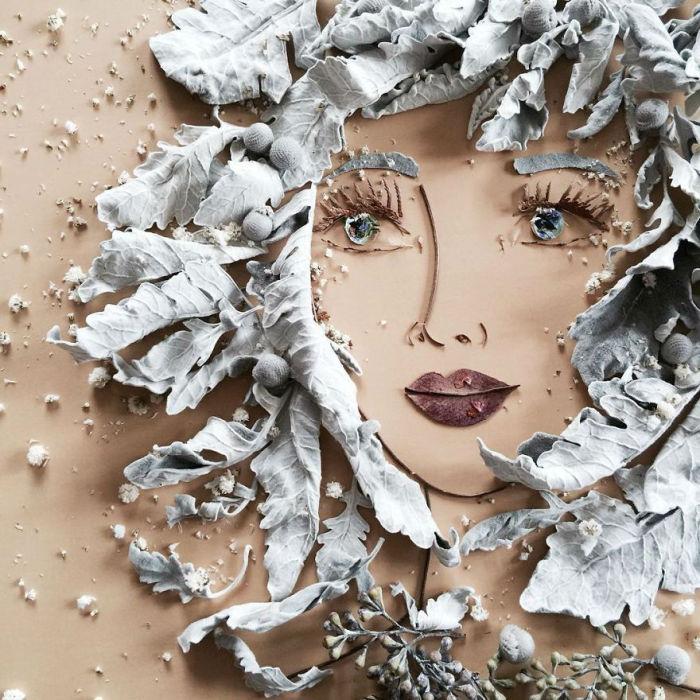 Безумно красивый портрет девушки из природных материалов.