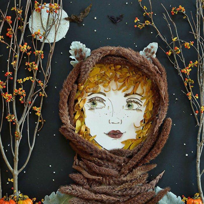 Шедевральный портрет, сотканный из природных компонентов руками флористов.