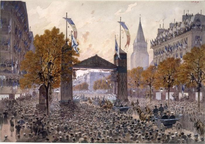 Шествие русских моряков по бульвару Сен-Жермен. 20 октября 1893 года.
