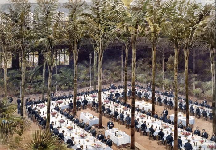 Банкет в частном саду в районе старинных замков и особняков с тропическими растениями с разных экзотических уголков Земли. 23 октября 1893 года.