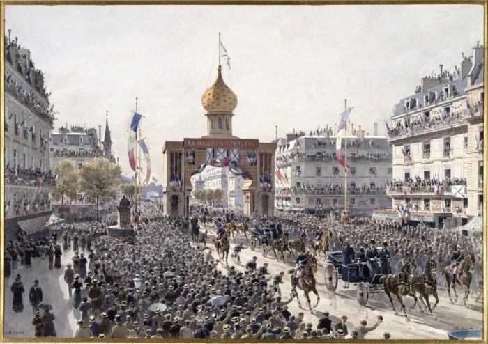 Шествие кортежа по бульвару во время франко-российских торжеств в Париже. 20 октября 1893 года.