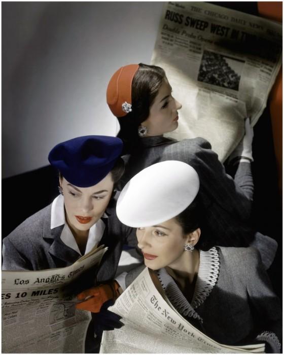 Модели в изящных и стильных головных уборах, которые были любимым аксессуаром женщин 1940-х годов.