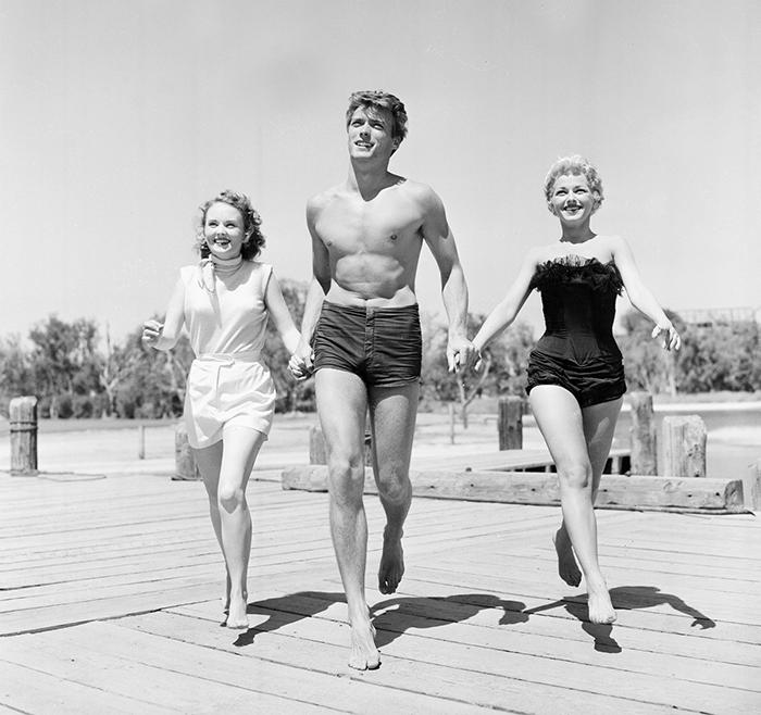 Клинт Иствуд с актрисами Олив Старгесс и Дани Крейн в Сан-Франциско, 1954 год.