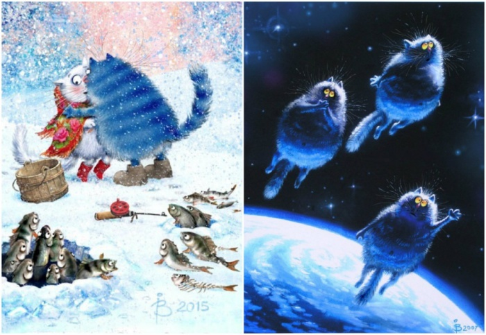 Необыкновенно синие и весёлые коты.