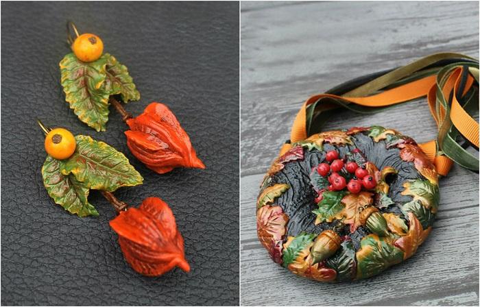 Осенние украшения из полимерной глины.