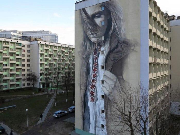 Роспись уличной стены в Минске: красота в повседневности.