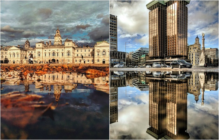Удивительные фотографии городов, отраженных в лужах.