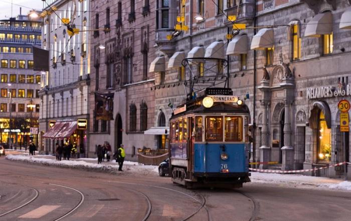 Единственная сохранившаяся в городе трамвайная линия.