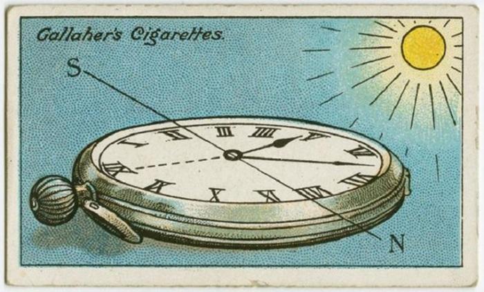 Часы нужно расположить таким образом, чтобы часовая стрелка указывала на солнце. После этого необходимо найти угол между часовой стрелкой и 12 часами и разделить его мысленно пополам. Линия, разделяющая этот угол, и будет указывать на юг. До полудня юг будет с правой стороны от солнца, а после — с левой!