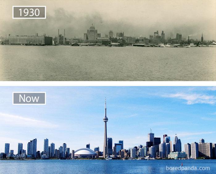 1930 год и в настоящее время.