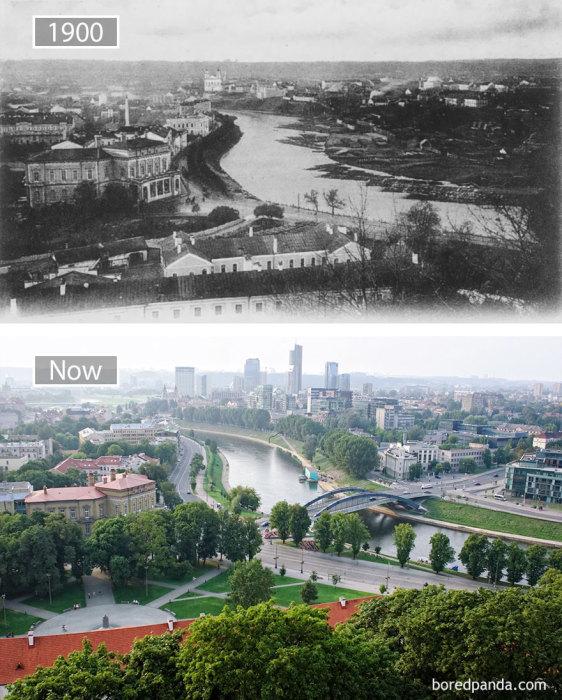 1900 год и в настоящее время.
