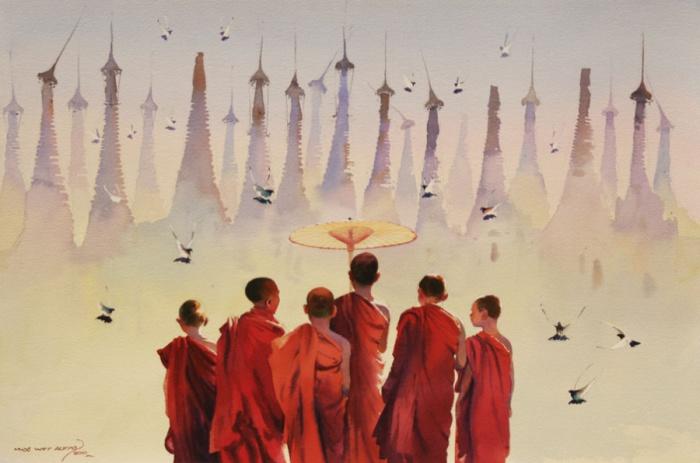 Свободное времяпрепровождение юных буддистских монахов.