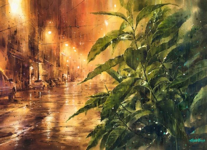 Удивительная красота дождливой летней ночи.