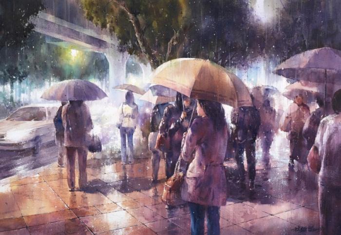 Уличная сцена городской жизни в дождливую погоду.