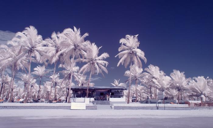 Колва - самый старый и большой пляж южного Гоа – на инфракрасной фотографии выглядит очень необычно.