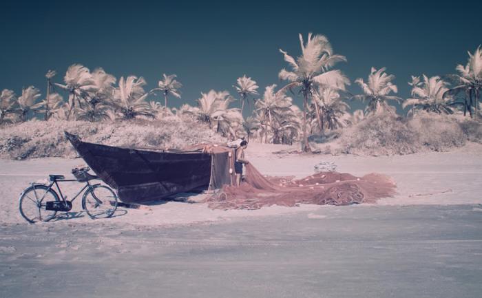 Белый песок, белые пальмы и розовая рыболовная сеть.