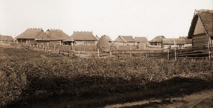 Деревенские дома с соломенными крышами.