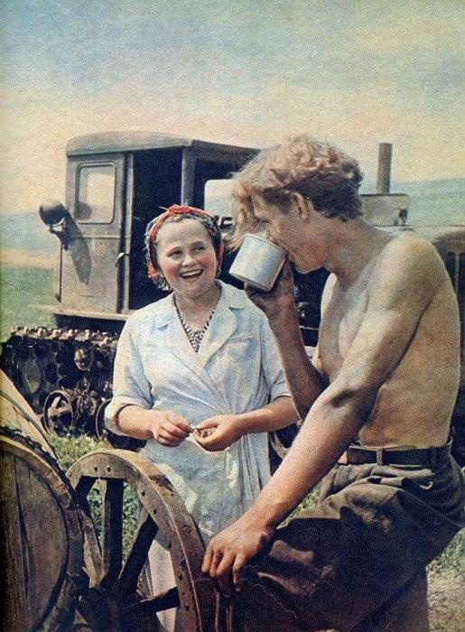 Разговор тракториста и женщины-повара во время обеденного перерыва.
