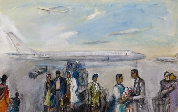 Лабас Александр Абрамович (Россия, 1900-1983) «В аэропорту» 1963