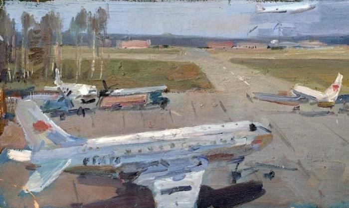 Дудов Юрий Николаевич (Россия, 1918-1976) «Аэродром» конец 1950 г.