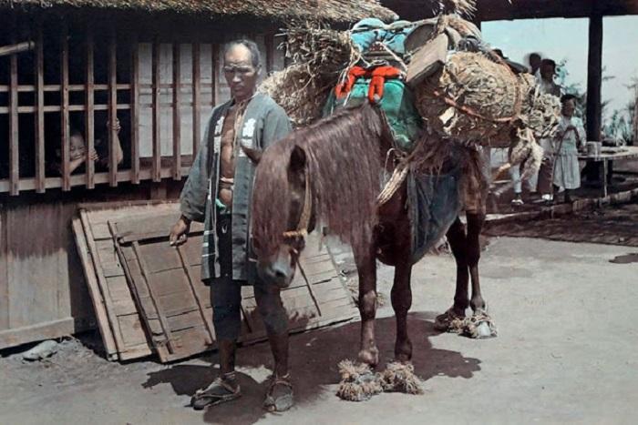 Мужчина перевозит рисовые тюки.