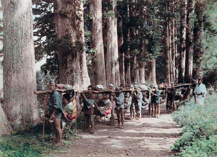 Японские носители каго перевозят мужчин и женщин по дороге в Хаконе.