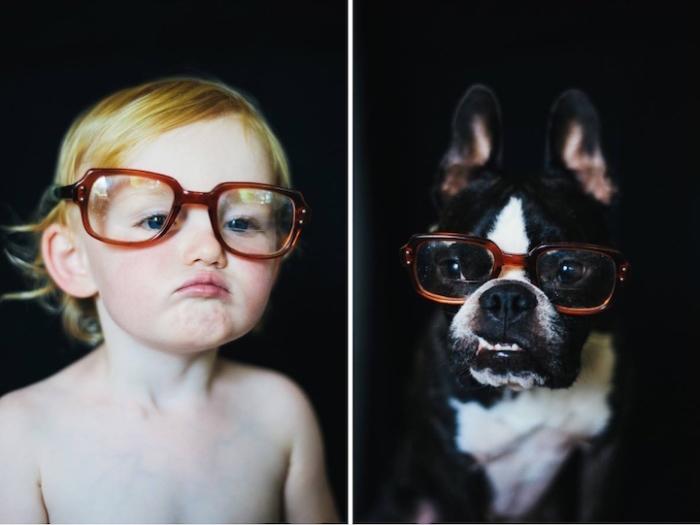 Примирение очков очень нравится и ребёнку и собаке.