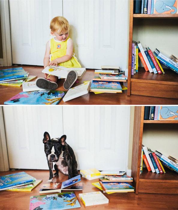 Двухлетняя малышка и ее пятилетний друг читают вместе.