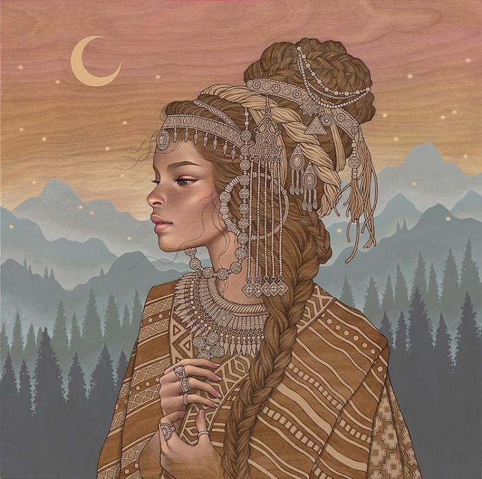 Автор картины, написанной по дереву – американская художница Одри Кавасаки (Audrey Kawasaki).