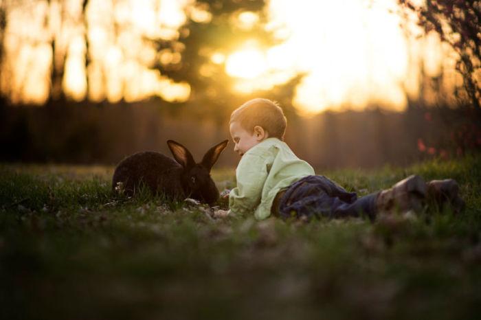 Забавные игры с ушастым другом на поляне.