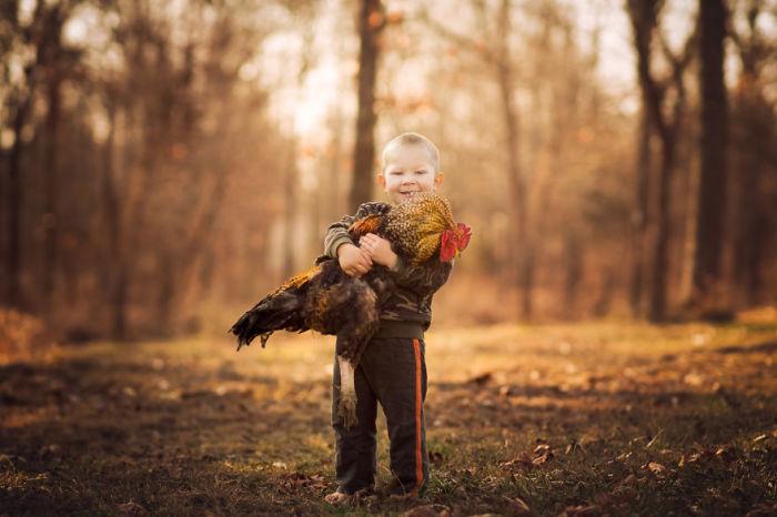 Интересная дружба между мальчиком и повелителем кур.