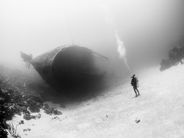 Затонувшее судно рядом с Карибскими островами является местной достопримечательностью и каждый год сюда съезжаются тысячи дайверов насладиться незабываемым зрелищем. Фотограф - Marc Henauer.