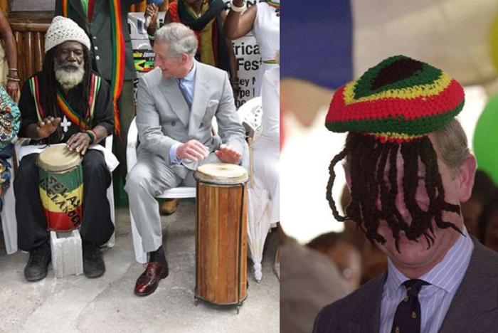 Старший сын Королевы Великобритании пробует играть на музыкальном инструменте во время пребывания на Ямайке и примеряет шапку растамана, подаренную Ритой Марли.