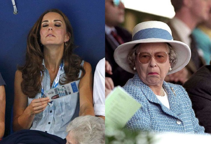 Во время соревнований по плаванию на Играх Содружества, которые проходили в Глазго, было очень жарко, и герцогиня Кейт спасалась от жары как могла, а вот королева в любой ситуации старается оставаться невозмутимой.