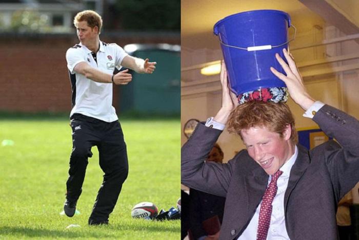 Принц Гарри Уэльский развлекается на тренировке по регби и пробует удержать ведро с водой на голове.